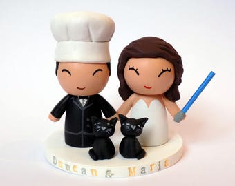 Wedding Cake Topper - Custom Chef and bride - with pets