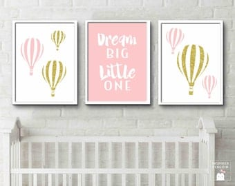 Travel Theme Decor Hot air balloon pink and gold prints