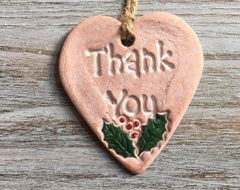 Clay Heart Thank you - Tree Decoration/ Gift Tags/ Small Keepsake