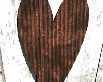 Large Corrugated Heart - Corrugated Metal Heart - Metal Heart Decor - Metal Heart Wall Hanging - Upcycled Metal Decor - Rustic Wedding Decor