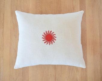 Stamped 'Star' Linen Pillow