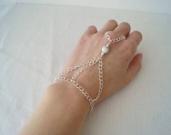 Bead Slave Bracelet, Hand Chain, Beaded Hand Chain, White Marble Bead Bracelet, Ring And Bracelet Set, Bracelet With Ring, Brides Gift