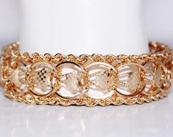 "14k Yellow Gold Vintage Chunky Rope Bracelet 7.5"""