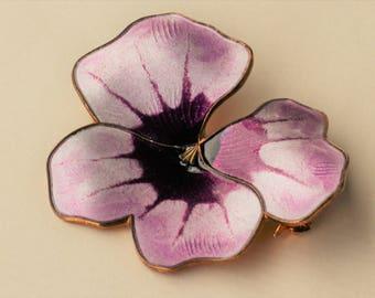 MINT Vintage David-Andersen, Harry Sørby (Sorby), Norway. Sterling silver vermeil enamel brooch. Pansy pin.