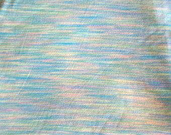 Green Knit Fabric with Multi Colored Pattern of Blues and Peaches in One Piece, 8 feet long