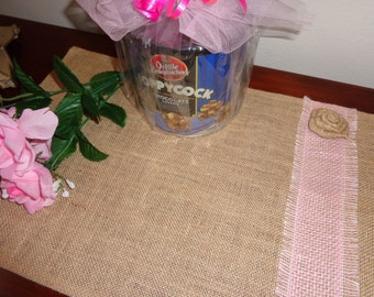 "Burlap Jute Placemat w/Pink Fringed Trim & Burlap Flower, 12"" x 18"", Dresser Scarf, Table Setting, Dining, Table Runner, Kitchen"
