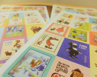 Wizard of Oz Postage Stamp Stickers, Scrapbooking Decal, Crafting Supplies, Vintage Style Stickers, Dorothy, Tinman