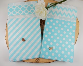 Light Blue Favour Bags, Bitty Bags, Polka Dots, Sweet Bags, Geometric Wedding Favour Bags, Bitty Bags