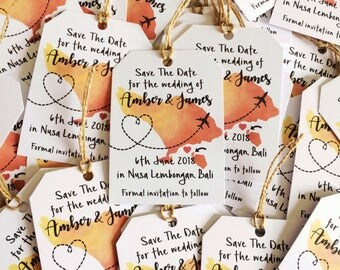 Destination Wedding Magnetic Save the Date | Abroad Wedding | Travel Tag style | Map save the date |  Magnet