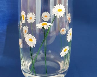 Hand Painted Daisy Glass