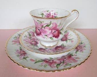Paragon Pink Orchid Tea Cup Saucer, Trio/ Gold & Pretty Pink floral, footed, teacup, saucer, dessert plate/ excellent condition