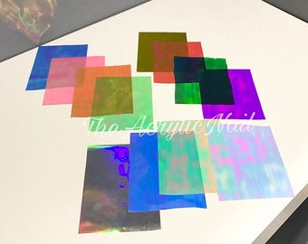 Nail Art Shatter Film Paper Iridescent Holographic Sheets Bundle of 4 Japanese Nail Art Deco Nail Art Accessories Multi-chrome Rainbow