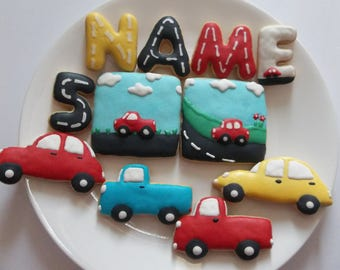 Cars decorated cookies, truck decorated cookies, decorated cookies