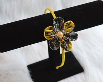 Yellow and Black Flower Headband