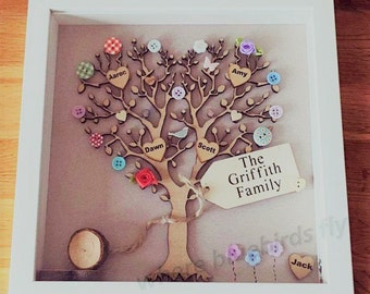spending summer outdoors family tree | framed family tree | personalised family tree frame | large | wooden family tree personalised summer