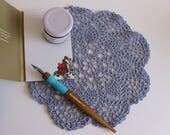 Light Blue Crochet Doily - Coloured Doily - Crochet Lace Decoration - Table Dressing - Crochet Home Decor - Crochet Craft Supplies