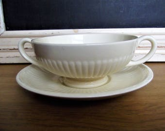 Wedgwood Edme of Etruria & Barlaston Ribbed Cream Footed Soup Bowl Saucer Underplate/Liner Set