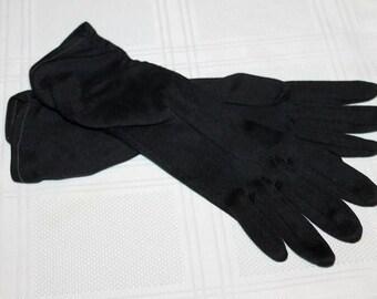 "1950's Black Gloves - 11"" Evening Gloves - Sheared Cuff - Size 6"