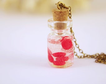 Red Blood Cells Bottle Necklace Red Blood Cells Pendants Science Jewelry  Glass Bottle Necklace  Anatomy Jewelry  Science Art  Human Gift