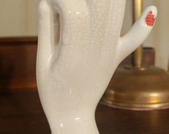 Vintage Ceramic Hand Bud Vase with Mudra Upper Hand Position