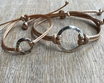 Mommy and Me Bracelets, Gold Waxed Cord, Mom and daughter bracelets, Circle Charm Bracelets, Matching Bracelets WM001476
