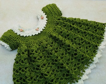 Crochet Lil Sprout Baby Dress Pattern 0-6 month only DIGITAL DOWNLOAD ONLY