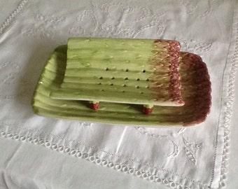 French vintage asparagus platter. Porcelaine asparagus strainer.