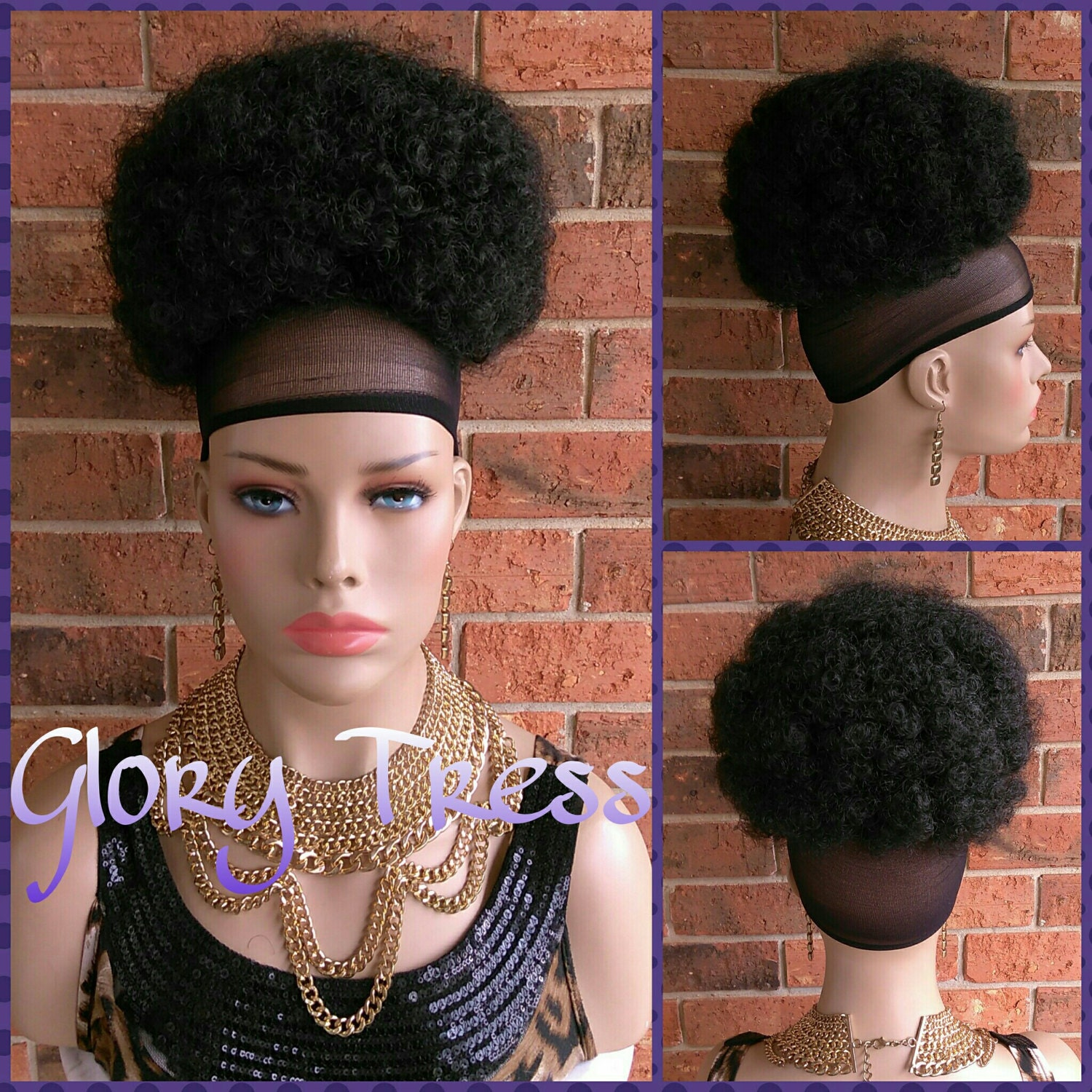 Ready To Ship Kinky Curly Afro Drawstring Ponytail Black