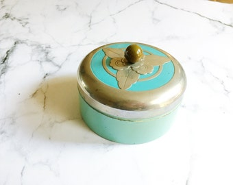 Vintage Powder Jar, Vintage Powder Box, Art Deco Container with Lid, Blue and Silver Container