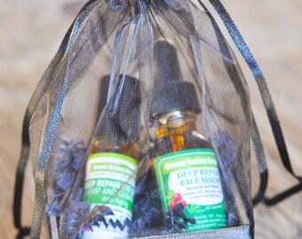 Skin care routine. Organic face serum + organic eye serum. Gift  basket. Ready to ship now. Hemp oil,