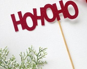 Ho ho ho glitter cake topper - christmas - holiday party decor - santa - winter cake topper -