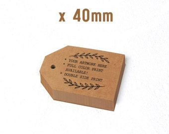 100 Custom offset printed TAG - Kraft paper (40x40mm and more)