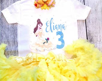 Beauty and the Beast, Birthday outfit, Birthday set, Birthday tutu,