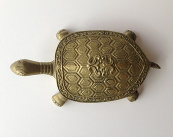Turtle Brass Turtle Trinket Box COTC Brass Ware Turtle Stash Box Jewelry Box