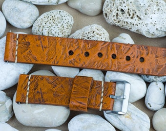 Watch band 22 mm width, 125 / 75mm, Antique brown leather, OSB Board pattern, handmade, with buckle in silver color