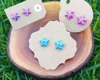 Handmade Little Bits Earrings Blue Pink Purple Ocean Starfish Stud Earrings Polymer Clay Surgical Steel