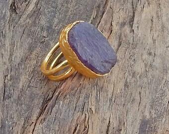 Rough Purple Amethyst Gemstone Ring,  Bezel Set Amethyst Gemstone silver yellow Gold Overlay Adjustable Ring Size 7