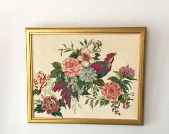 Framed Pheasant and Flowers Needlepoint, Floral Needlepoint Art with Gold Frame, Chinese Pheasant Needlepoint, Peonies Needlepoint, 18 x 16