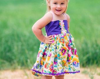 Girls Sunflower Dress - Girls Bohemian Dress - Toddler Sun Dress - Birthday Dress - Summer Dress - Rainbow Dress -  Little Girl Party Dress