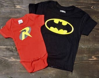 Batman or Robin superhero onesies and tshirts for baby boy or girl! Super cute onesies in all sizes