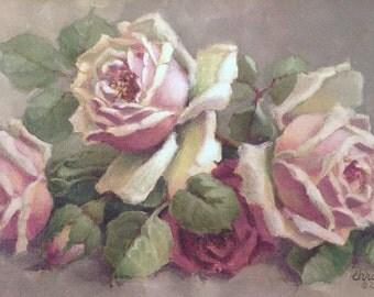 RARE*Christie Repasy Sweet Roses-French Inspired Roses-Framed Canvas Print-Ornate Framing