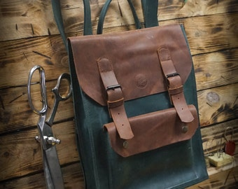 RETRO LEATHER BACKPACK by Fashion Racing. Handmade
