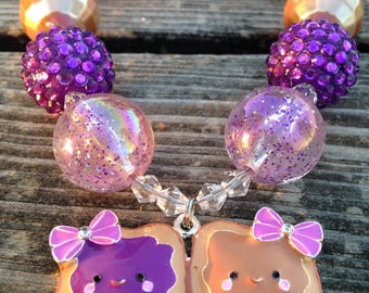 Jewelry - Necklaces - Chunky necklace - Bubblegum necklace - Little girl necklace - Girl jewelry - PB&J Necklace - Fun jewelry - Girl gift