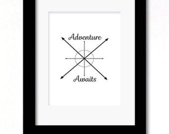 A4 adventure awaits black and white print