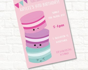 4x6 macaroon party birthday invitation any age jpeg download digital file
