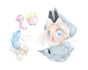 alice in wonderland disney cheshire cat oysters caterpillar pop surrealism movie art print