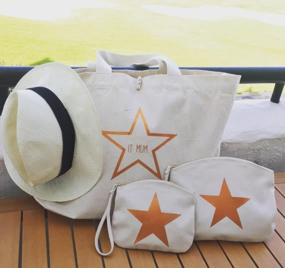 Star organic cotton bag for shoulder or hand