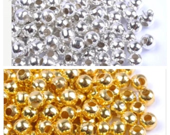 Silver/Gold Large hole spacers, 100 plated spacers,leather jewelry bead, silver/Gold plated round beads, large hole spacers, 304 Ships USA