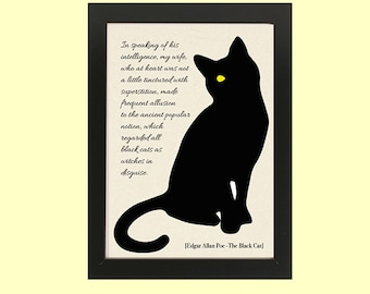 PRINTABLE poster The Black Cat by Edgar Allan POE, book lovers, ready to print, instant download, books, Gifts for christmas,books addicted