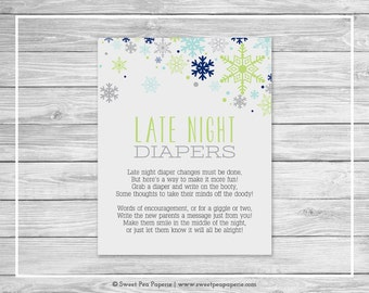 Winter Baby Shower Late Night Diapers Sign - Printable Baby Shower Late Night Diapers - Baby It's Cold Outside Baby Shower - SP142